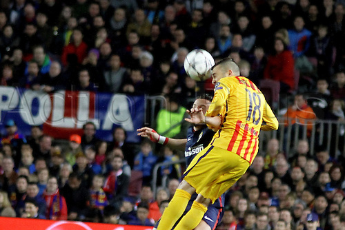 05.04.2016 Nou Camp, Barcelona, Spain. Uefa Champions League Quarter-finals 1st leg. FC Barcelona against Atletico de Madrid. Alba (Barca) wins a header during the match