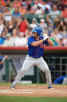 St. Lucie Mets left fielder Tim Tebow (15) at bat in the top of the fourth inning during a game against the Florida Fire Frogs on July 23, 2017 at Osceola County Stadium in Kissimmee, Florida.  St. Lucie defeated Florida 3-2.  (Mike Janes/Four Seam Images)