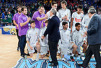 Real Madrid's president Florentino Perez shake hands with Real Madrid's coach Miguel Angel Lopez Palacios during Finals match of 2017 Mini King's Cup at Fernando Buesa Arena in Vitoria, Spain. February 19, 2017. (ALTERPHOTOS/BorjaB.Hojas) /NortEPhoto.com