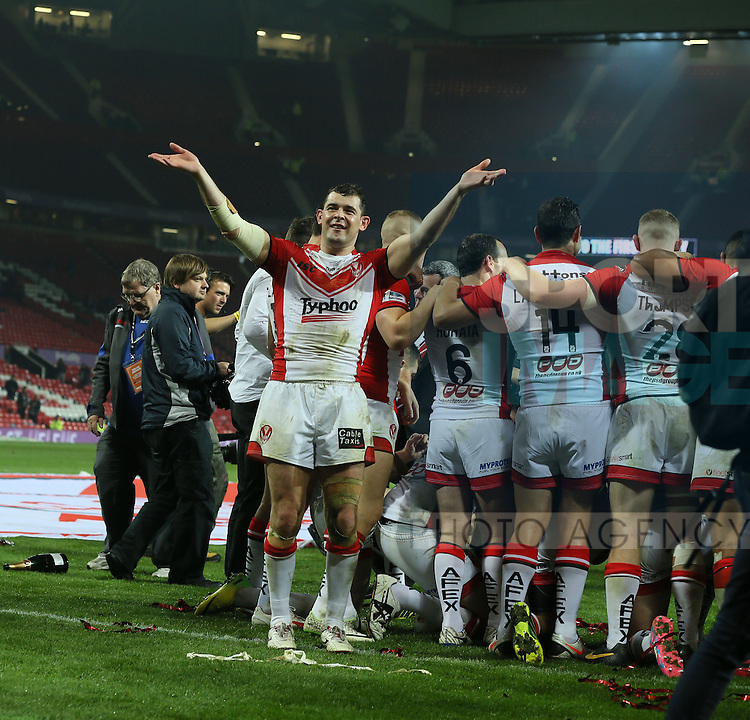St Helens Paul Wellens celebrates- First Utility Super League Grand Final - St Helens v Wigan Warriors - Old Trafford Stadium - Manchester - England - 11th October 2014 - Pic Paul Currie/Sportimage