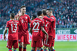 01.12.2018, Weser Stadion, Bremen, GER, 1.FBL, Werder Bremen vs FC Bayern Muenchen, <br /> <br /> DFL REGULATIONS PROHIBIT ANY USE OF PHOTOGRAPHS AS IMAGE SEQUENCES AND/OR QUASI-VIDEO.<br /> <br />  im Bild<br /> <br /> Serge Gnabry (FC Bayern Muenchen #22) zum 0 zu 1 <br /> <br /> jubel mit Rafinha (FC Bayern Muenchen #13)<br /> Robert Lewandowski (FC Bayern Muenchen #09)<br /> Thomas M&uuml;ller / Mueller (FC Bayern Muenchen #25)<br /> Leon Goretzka (FC Bayern Muenchen #18)<br /> <br /> Foto &copy; nordphoto / Kokenge