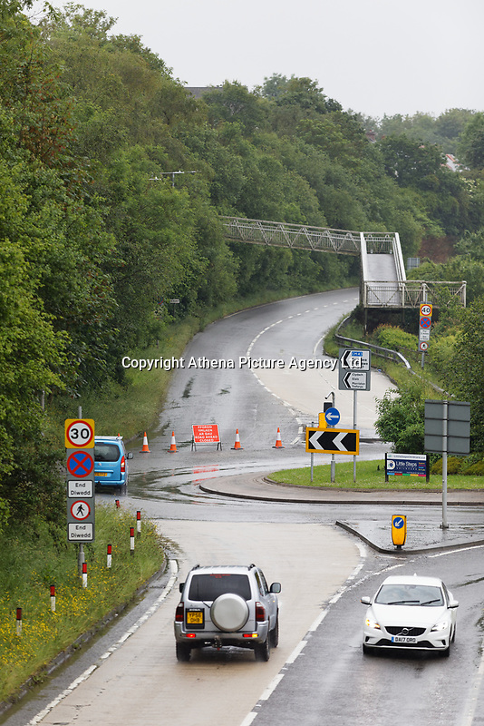 Pictured: The closed off A4067 road in Pontardawe, south Wales, UK. Tuesday 05 June 2019<br /> Re: A boy has been airlifted to hospital following a crash between six cars and an empty coach.<br /> on the A4067 near Swansea.<br /> The road, between Glais and Pontardawe, was closed for investigations but later reopened.