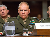 """United States Marine Corps General Robert B. Neller, Commandant of the US Marine Corps, testifies before the US Senate Committee on Armed Services """"on the posture of the Department of the Navy in review of the Defense Authorization Request for Fiscal Year 2019 and the Future Years Defense Program"""" on Thursday, April 19, 2018.<br /> Credit: Ron Sachs / CNP"""