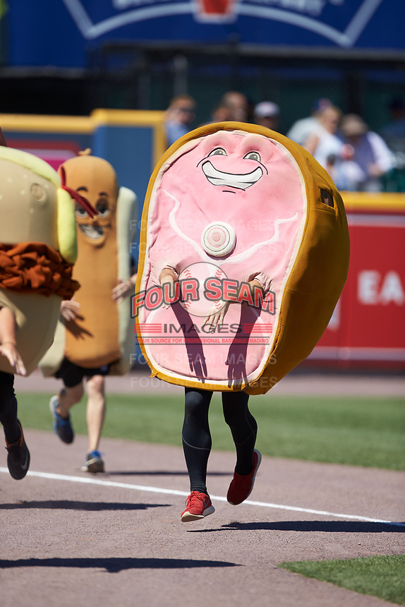 """""""Hambone"""" competes in the """"Great Pork Race"""" between innings of the International League game between the Durham Bulls and the Lehigh Valley Iron Pigs at Coca-Cola Park on July 30, 2017 in Allentown, Pennsylvania.  The Bulls defeated the IronPigs 8-2.  (Brian Westerholt/Four Seam Images)"""