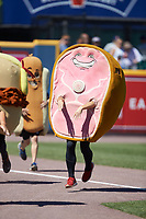 """Hambone"" competes in the ""Great Pork Race"" between innings of the International League game between the Durham Bulls and the Lehigh Valley Iron Pigs at Coca-Cola Park on July 30, 2017 in Allentown, Pennsylvania.  The Bulls defeated the IronPigs 8-2.  (Brian Westerholt/Four Seam Images)"