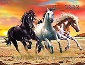 Interlitho, Lorenzo, REALISTIC ANIMALS, paintings, 3 mustangs(KL3882,#A#) realistische Tiere, realista, illustrations, pinturas ,puzzles
