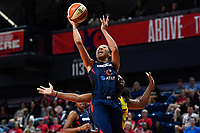 Washington, DC - Aug 8, 2019: Washington Mystics forward Aerial Powers (23) drives past Indiana Fever defender on her way to the basket during 2nd half action of game between the Indiana Fever and the Washington Mystics. The Mystics defeat the Fever 91-78 at the Entertainment & Sports Arena in Washington, DC. (Photo by Phil Peters/Media Images International)