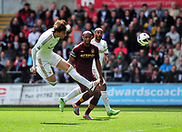 Pictured: (L-R) Michu, Vincent Kompany.<br />