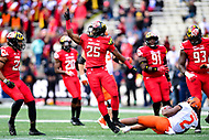 College Park, MD - OCT 27, 2018: Maryland Terrapins defensive back Antoine Brooks Jr. (25) celebrates a tackle in the backfield during game between Maryland and Illinois at Capital One Field at Maryland Stadium in College Park, MD. The Terrapins defeated Illinois to move to 5-3 on the season. (Photo by Phil Peters/Media Images International)