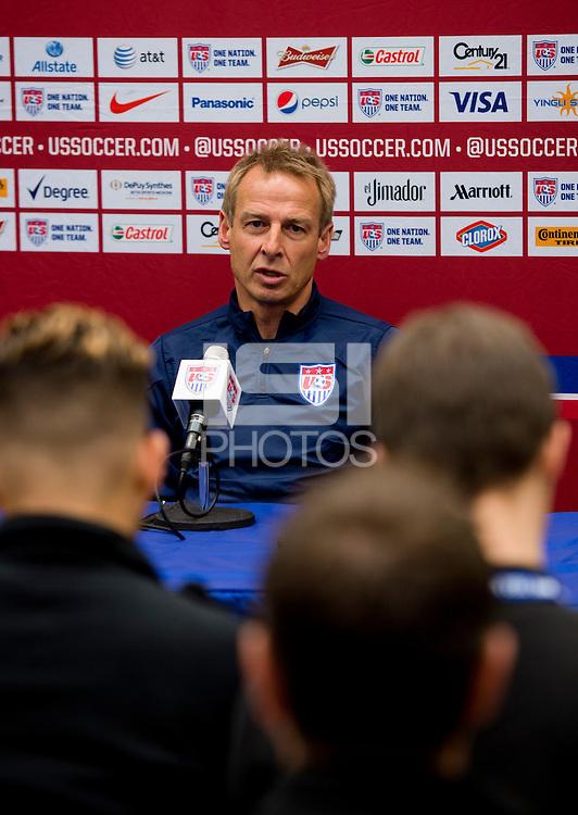 East Hartford, CT - October 9, 2014: USMNT head coach Jurgen Klinsmann held a press conference prior to the team's international friendly against Ecuador at Rentschler Field.