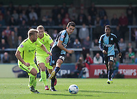 Luke O'Nien of Wycombe Wanderers plays a pass during the Sky Bet League 2 match between Wycombe Wanderers and Hartlepool United at Adams Park, High Wycombe, England on 5 September 2015. Photo by Andy Rowland.