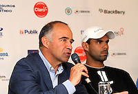 BOGOTA -COLOMBIA, 10-07-2013.  Conferencia de prensa que da apertura al torneo de tenis Claro Open Colombia ATP World Tour 250. De izquierda a derecha : Manuel Mate , presidente IMLA de Colombia Alejandro Falla y Santiago Giraldo tenistas colombianos .Hotel Radisson./ Press conference that gives tennis tournament opening Colombia Clear Open ATP World Tour 250. From left to right: Mnauel Mate, IMLA president of Colombia, Alejandro Falla and  Santiago Giraldo Colombian players. Hotel Radisson <br /> . Photo: VizzorImage/ Felipe Caicedo/ STAFF