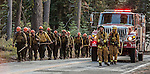US Forest Service Horseshoe Meadow Hotshots hike along Tioga Road in Yosemite National Park on their way to begin a burning project.