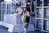 Pantera - guitarist Dimebag Darrell Abbott and drummer Vinnie Paul - performing live on the Main Stage at the 1997 Ozzfest held at Gians Stadium in East Rutheford NJ USA - Jun 15,1997.  Photo credit: Eddie Malluk/IconicPix
