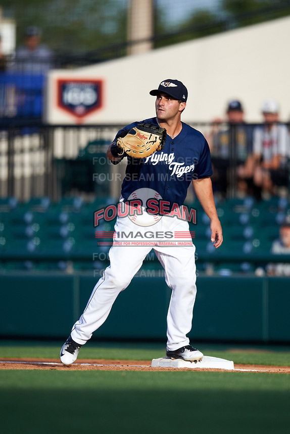 Lakeland Flying Tigers first baseman Wade Hinkle (46) during a game against the Jupiter Hammerheads on April 17, 2017 at Joker Marchant Stadium in Lakeland, Florida.  Lakeland defeated Jupiter 5-1.  (Mike Janes/Four Seam Images)
