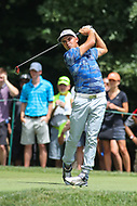 Bethesda, MD - July 1, 2017:  Rickie Fowler takes his tee shot during Round 3 of professional play at the Quicken Loans National Tournament at TPC Potomac in Bethesda, MD, July 1, 2017.  (Photo by Elliott Brown/Media Images International)