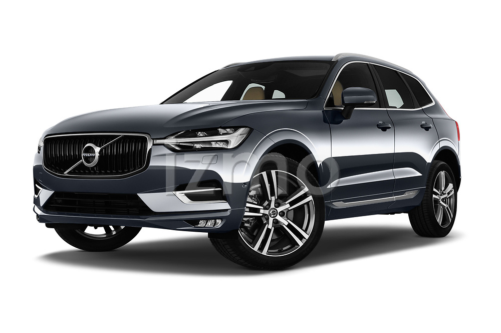 Stock pictures of low aggressive front three quarter view of a 2018 Volvo XC60 Inscription 5 Door SUV