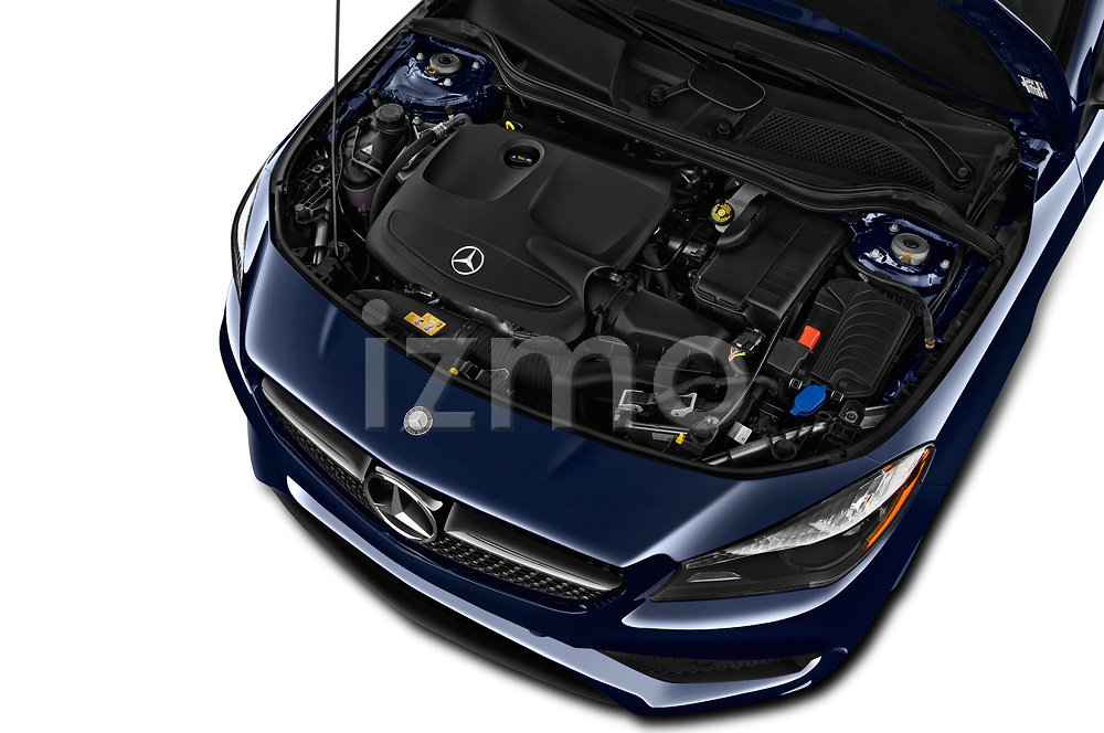 Car Stock 2018 Mercedes Benz CLA-Class CLA250 4 Door Sedan Engine  high angle detail view