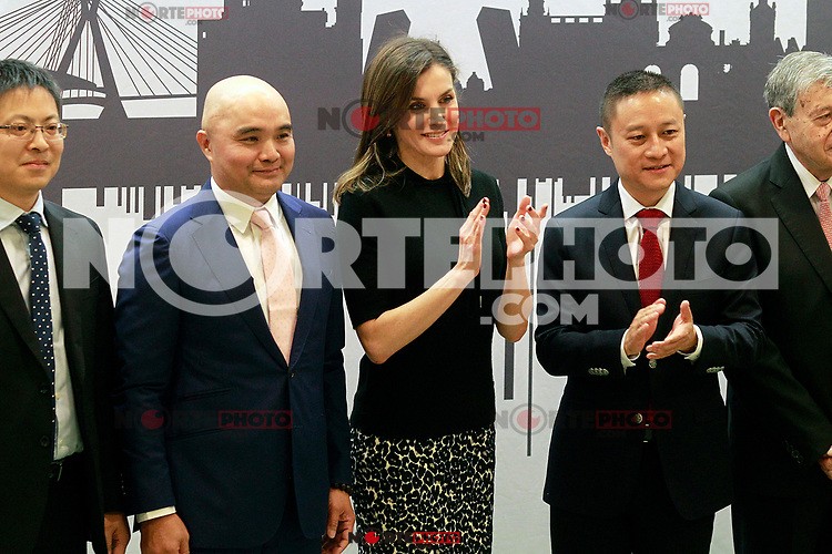 Queen Letizia of Spain (c) with  Chinese businessmen Eric X. Li, president of Chengwei Capital (r) and Lin Liangqi, president of Akso Nobel China during the presentation of the International Friendship Award. April 9, 2018. (ALTERPHOTOS/Acero) NortePhoto.com
