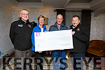 Kerry Hospice Palliative Care receiving a cheque of €1,000 from the Chain Gang from a cycle fundraiser in memory of the late Nicky Fitzgerald in the Meadowlands Hotel on Monday night.<br />  L-r, David Elton, Maura Sullivan, DJ Fitzgerald and John Murray,