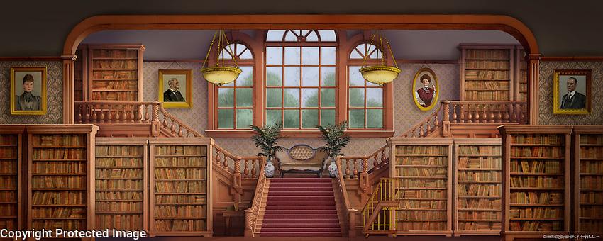 Inside the public library in River City, Iowa.<br /> For Kenmark Scenic Backdrops, Inc.