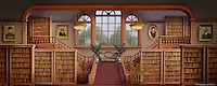 Inside the public library in River City, Iowa.<br />