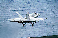 "- launch of a F 18 ""Hornet"" fighter bomber aircraft on Roosevelt aircraft carrier....- lancio di un cacciabombardiere F 18 ""Hornet"" a bordo della portaerei Roosevelt  .."