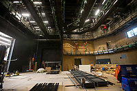 NWA Democrat-Gazette/BEN GOFF @NWABENGOFF<br /> Construction work continues in the West Theatre Friday, March 1, 2019, inside the new TheatreSquared building under construction in downtown Fayetteville. The West Theatre is the larger of two performance spaces in the new building.