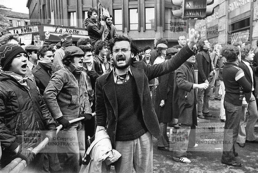 "- manifestation of extreme left radical group ""Workers Autonomy"", in the center Oreste Scalzone, one of the leaders (Milan, 1977)....- manifestazione del gruppo di estrema sinistra ""Autonomia Operaia"", al centro Oreste Scalzone, uno dei leaders  (Milano, 1977)"