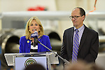 PEMBROKE PINES, FL - NOVEMBER 18: Dr. Jill Biden, wife of U.S. Vice President Joe Biden and  Secretary of Labor Thomas Perez visits Broward College Aviation Institute and addresses a group of educators to discuss the recent selection of Broward College to lead a $24.5 million grant to twelve schools in seven states focused on training workers for careers in supply chain management on November 18, 2013 in Pembroke Pines, Florida. (Photo by Johnny Louis/jlnphotography.com)