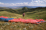 Paraglider prepares to launch