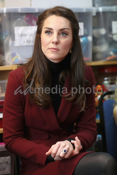 22 February 2017 - Princess Kate Duchess of Cambridge visits Caerphilly Family Intervention Team (FIT) to learn about their work with children with emotional and behavioural difficulties, problems with family relationships and those who have or who are likely to self-harm in Caerphilly. Photo Credit: ALPR/AdMedia
