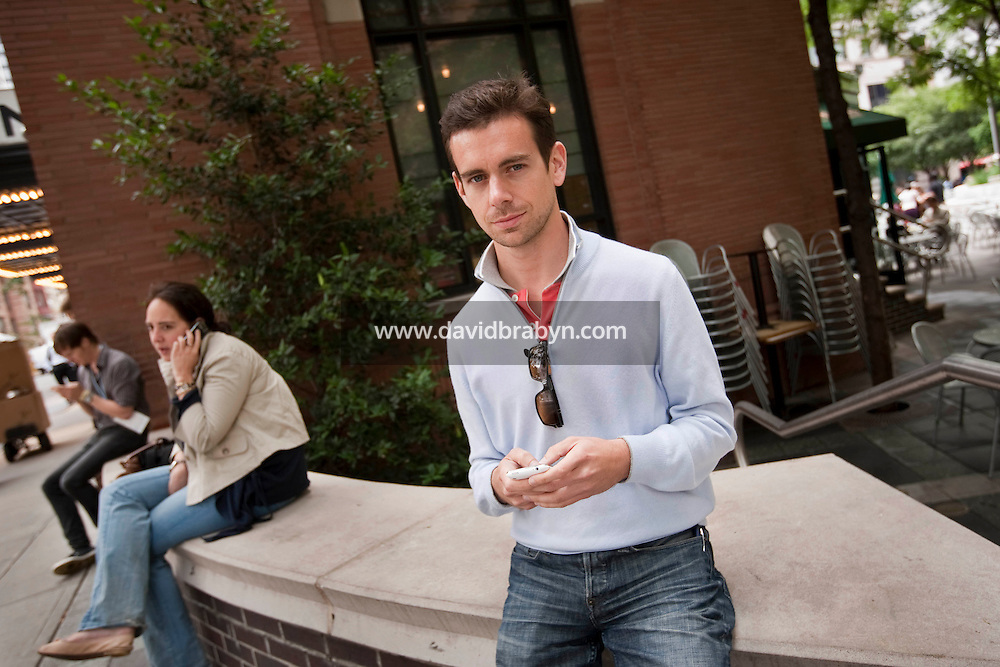 Jack Dorsey (@jack), co-founder and chairman of Twitter, poses for the photographer while attending the 140 Character conference in New York City, USA, 16 June 2009.