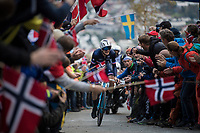 Alexis Gougeard (FRA/AG2R-La Mondiale) up Mount Fløyen<br /> <br /> Men Elite Individual Time Trial<br /> <br /> UCI 2017 Road World Championships - Bergen/Norway