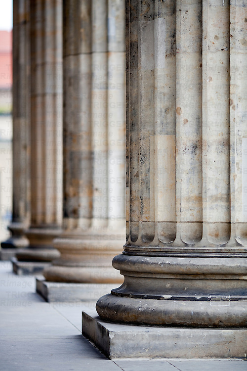 Neoclassical columns of the Konzerthaus (Concert Hall) portico, Gendarmenmarkt square, Berlin, Germany