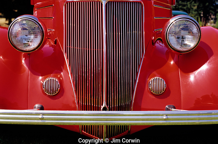 Close up of classic car grill and front of car Ford Everett Classic Car Show Washington State USA