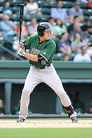 Left fielder Andrew Cain (36) of the Augusta GreenJackets bats in a game against the Greenville Drive on Opening Day, Thursday, April 9, 2015, at Fluor Field at the West End in Greenville, South Carolina. Greenville won, 3-2. (Tom Priddy/Four Seam Images)