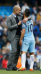 Josep Guardiola manager of Manchester City grabs Sergio Aguero of Manchester City at the end of the match during the English Premier League match at the Etihad Stadium, Manchester. Picture date: May 13th 2017. Pic credit should read: Simon Bellis/Sportimage