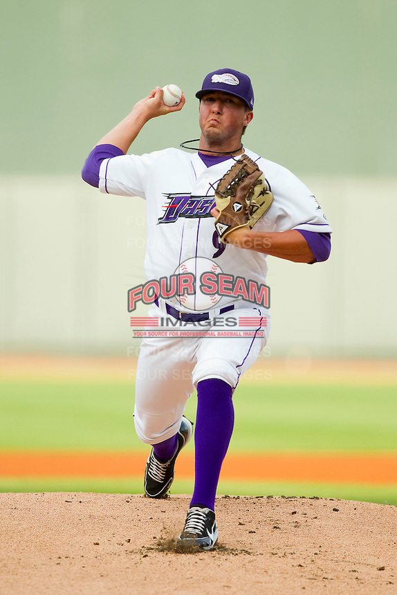 Winston-Salem Dash starting pitcher Bryan Blough (9) in action against the Potomac Nationals at BB&T Ballpark on July 8, 2013 in Winston-Salem, North Carolina.  The Dash defeated the Nationals 12-9.  (Brian Westerholt/Four Seam Images)