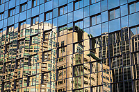 Glass Building Reflection Abstract, Seattle, WA, USA.