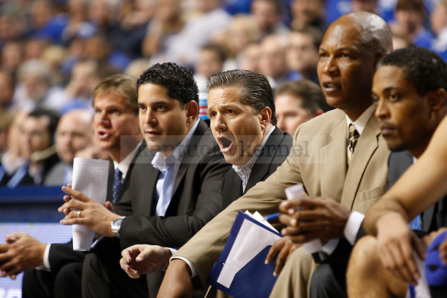 The University of Kentucky basketball coaches during the game against Dillard University at Rupp Arena on November 5, 2010.  Photo by Latara Appleby | Staff