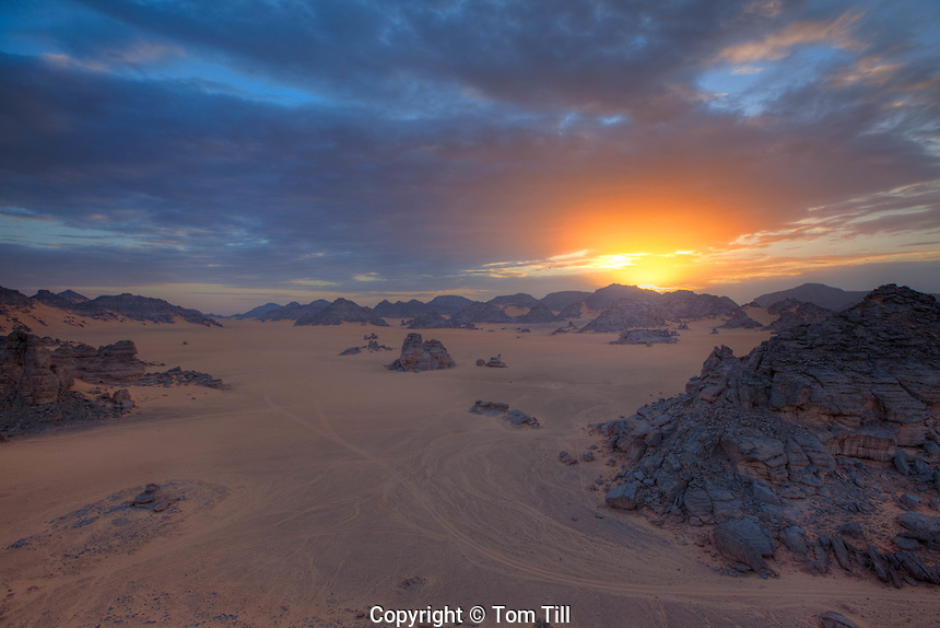 Sunrise in the Awiss, Jebel Acacus, LIbya  Mountains in the Sahara Desert UNESCO  World Heritage Site