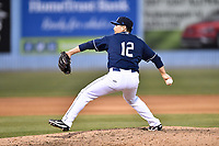 Asheville Tourists pitcher Ryan Luna (12) delivers a pitch during a game against the Greensboro Grasshoppers at McCormick Field on April 28, 2017 in Asheville, North Carolina. The Grasshoppers defeated the Tourists 7-4. (Tony Farlow/Four Seam Images)