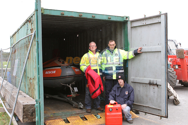 Drogheda River Rescue Members Alan Floyd, Paul Murphy, David Conlon with the container that was broken in to...(Photo credit should read Jenny Matthews www.newsfile.ie)....This Picture has been sent you under the conditions enclosed by:.Newsfile Ltd..The Studio,.Millmount Abbey,.Drogheda,.Co Meath..Ireland..Tel: +353(0)41-9871240.Fax: +353(0)41-9871260.GSM: +353(0)86-2500958.email: pictures@newsfile.ie.www.newsfile.ie.