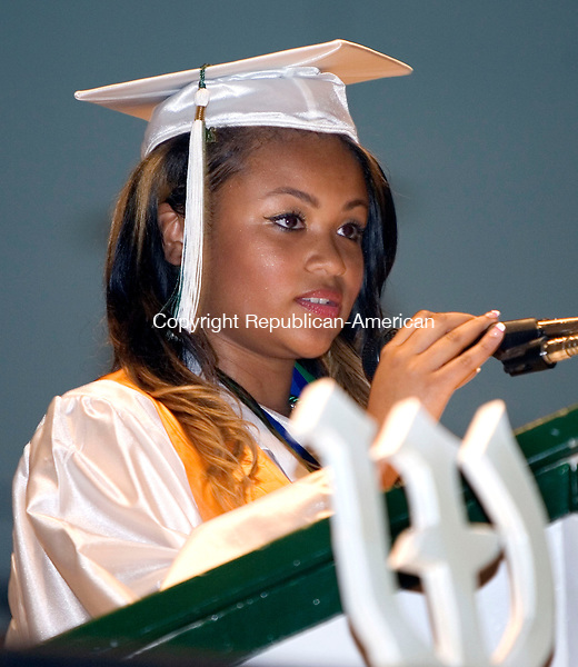 WATERBURY CT. 17 June 2014-061714SV13-Malika Gatling, 18, class president gives the class address during graduation ceremonies at Wilby High School in Waterbury Tuesday. <br /> Steven Valenti Republican-American