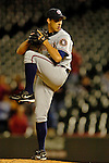 8 September 2006: Ryan Wagner, pitcher for the Washington Nationals, on the mound against the Colorado Rockies. The Rockies defeated the Nationals 10-5 in a rain-delayed game at Coors Field in Denver, Colorado. ..Mandatory Photo Credit: Ed Wolfstein..