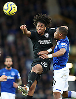 11th January 2020; Goodison Park, Liverpool, Merseyside, England; English Premier League Football, Everton versus Brighton and Hove Albion; Solly March of Brighton and Hove Albion wins a header as Djibril Sidibe of Everton challenges - Strictly Editorial Use Only. No use with unauthorized audio, video, data, fixture lists, club/league logos or 'live' services. Online in-match use limited to 120 images, no video emulation. No use in betting, games or single club/league/player publications