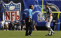 Sept. 17, 2006; San Diego, CA, USA; Tennessee Titans head coach Jeff Fisher argues with a referee against the San Diego Chargers at Qualcomm Stadium in San Diego, CA. Mandatory Credit: Mark J. Rebilas