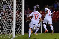 SÃO PAULO, SP, 28 DE FEVEREIRO DE 2013 - TAÇA LIBERTADORES DA AMÉRICA - SÃO PAULO x THE STRONGEST: Luis Fabiano chuta para marcar o segundo gol do São Paulo apó cruzamento de PH Ganso durante partida São Paulo x The Strongest, válida pela 2ª rodada do grupo 3 da Taça Libertadores da América de 2013, disputada no estádio do Morumbi em São Paulo. FOTO: LEVI BIANCO - BRAZIL PHOTO PRESS