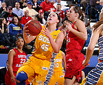 BROOKINGS, SD - FEBRUARY 21:  Ellie Thompson #45 from South Dakota State takes the ball to the basket past Lisa Loeffler #44 from the University of South Dakota in the first half of their game Saturday evening at Frost Arena in Brookings. (Photo by Dave Eggen/Inertia)